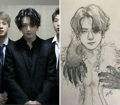 Woooah these drawing skills are amazing! - Woooah these drawing skills are amazing! Yoonmin Fanart, Fanart Bts, Jungkook Fanart, Bts Jungkook, Jimin Hot, K Wallpaper, Arte Sketchbook, Kpop Drawings, Fan Art