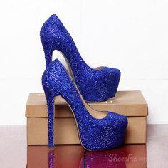 Sparkle Blue Rhinestone Platform Stiletto Heels #pumpheelsstilettos