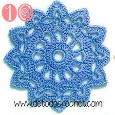 crochet motif or doily, 5 rounds, see graph sunburst small doily Motif Mandala Crochet, Crochet Square Patterns, Crochet Flower Patterns, Crochet Squares, Crochet Designs, Crochet Flowers, Filet Crochet, Crochet Chart, Thread Crochet
