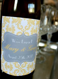 Items similar to Personalized Wedding Wine Label - Yellow & Gray Damask Wine Label. DIY Print-Yourself Wine Labels on Etsy Personalized Wine Labels, Personalized Wedding, Wine Wedding Favors, Wedding Ceremony Script, Diy Wedding Video, Damask Wedding, Wedding Engagement, Engagement Ideas, Watercolor Wedding Invitations