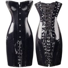#Bslingerie Womens Lace Up Back Shiny #PVC #Corset Dress With Matching Thong: Buy New: $27.99