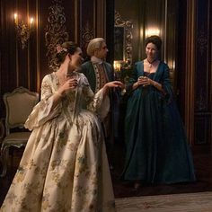 "Claire Fraser (Caitriona Balfe) and Louise de Rohan (Claire Sermonne) in Episode 206 ""Best Laid Schemes"" of Outlander Season Two on Starz"