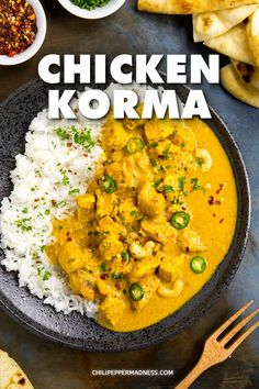 Chicken Korma – Big Indian Flavor – My chicken korma recipe is made with classic Indian ingredients and spices, with chicken marinated in korma paste and yogurt, then simmered with cream. via Chili Pepper Madness - Chicken Korma - Big Indian Flavor Spicy Recipes, Cooking Recipes, Cooking Tips, Indian Chicken Recipes, Crockpot Indian Recipes, Indian Food Recipes Easy, Indian Chicken Dishes, Recipes, Chicken