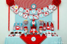 Cute Race Car Birthday Party Package Personalized Printable Design by leelaaloo.com