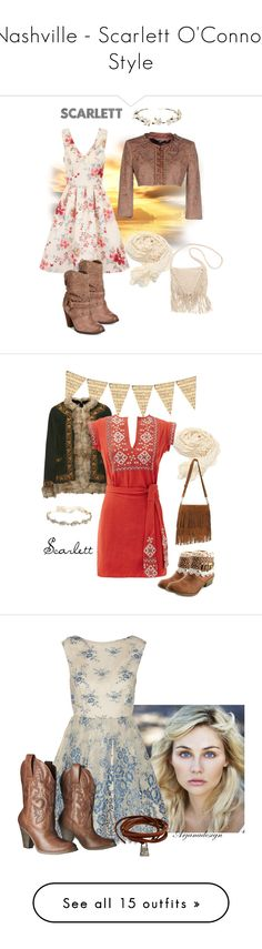 """Nashville - Scarlett O'Connor Style"" by atak-kat on Polyvore featuring Elisabetta Franchi, Chi Chi, Naughty Monkey, Billabong, Cult Gaia, country, TigerBear Republik, Free People, Marchesa and vintage"