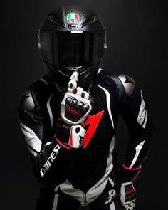 Bike Gear - Dainese suit and gloves. Gp Moto, Agv Helmets, Bike Leathers, Motorcycle Suit, Biker Boys, Biker Gear, Super Bikes, Back To Black, Ducati