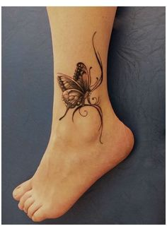 Butterfly Ankle Tattoos, Butterfly Tattoos For Women, Foot Tattoos For Women, Feather Tattoos, Foot Tattoos Girls, Ankle Tattoos For Women Anklet, Cute Foot Tattoos, Flower Tattoos, Ankle Foot Tattoo