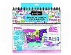 """Interior Design Sketch Portfolio by Fashion Angels. $8.85. This sketch pad lets you design the coolest new bedrooms or living areas!.. Wonderful collection of craft activities for hours of fun and creativity.. Design your own floor plans. It comes with 40 interior design- (grid formatted) sketch pages, 7 plastic stencil sheets (100+ stencils) and easy """"how to"""" instructions!. Design dream furniture!. From the Manufacturer                This sketch pad lets you design the ..."""