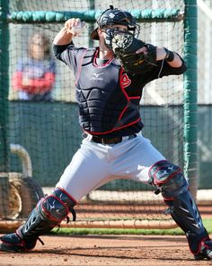 Cleveland Indians catcher Yan Gomes, throwing to 2nd base, at spring training in Goodyear, Arizona on Feb. 23, 2017.  (Chuck Crow/The Plain Dealer)