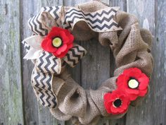 Burlap Wreath 15   Red Felt Poppy and Black by TheRuffledPage, $45.00