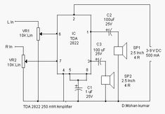 TDA2822 Stereo Audio Amplifier Circuit