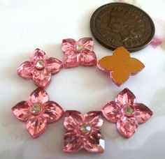 6 Vintage 8mm Pink Glass Flower Cab Cabochons C39