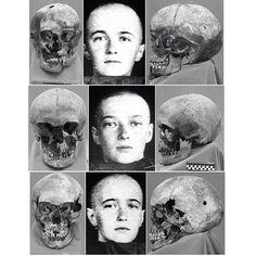 "Skulls of the Grand Duchesses Olga, Tatiana and Anastasia Nikolaevna Romanova of Russia. ""AL"""