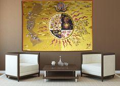 Voici la maison où naissent les étoiles et les divinités,  tapisserie d'Aubusson tissée par l'atelier Goubely. Circa 1940.    L'Œuvre de Lurçat est immense : c'est toutefois son rôle dans la rénovation de l'art de la tapisserie qui lui vaut d'être passé à la postérité. Dès 1917, il commence par des œuvres au canevas, puis, dans les années 20 et 30, il travaillera avec Marie Cuttoli. Sa première collaboration avec les Gobelins date de 1937... Lire la suite sur www.latapisserie20e.com