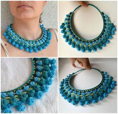 Bead Crochet, Crochet Necklace, Textile Jewelry, Jewellery, Textiles, Neck Piece, Crochet Accessories, Hand Stitching, Turquoise Necklace