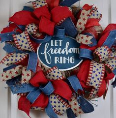 Let Freedom Ring Red and Blue Burlap Mesh Wreath; Country Primitive Patriotic Decor Wreath; Fourth of July Memorial Day Labor Day Wreath