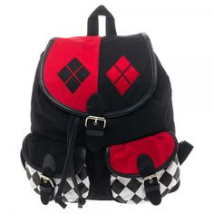 Harley Quinn DC Comics Harley Quinn Knapsack ❤ liked on Polyvore featuring bags, backpacks, rucksack bags, knapsack bag, snap bag, day pack backpack and backpack bags