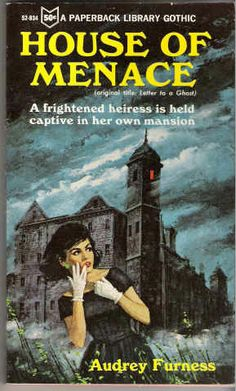 I used to love browsing through these old gothic paperbacks. The cover graphics are still great... but the pages tend to be all yellowed, and the type is too small. Oh well...