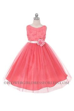 - Flower Girl Dress Style 278 - CORAL Sleeveless Tulle Dress with Mesh Rolled Flowers - Corals, Peaches, Oranges - Flower Girl Dre. Dresses For Less, Special Dresses, Coral Flower Girl Dresses, Toddler Flower Girls, Communion Dresses, Bridesmaid Dresses, Wedding Dresses, Junior Bridesmaids, Pageant Dresses