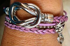 Purple Lilac Leather Braided Silver Chain Reef Knot Bracelet   by LeatherDiva, $31.00