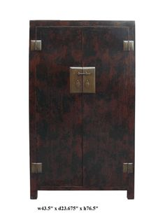 Rustic Brown Black Thick Hardware Tall Armoire - Golden Lotus Antiques