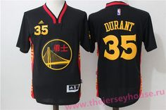 Men's Golden State Warriors #35 Kevin Durant Black Adidas Revolution 30 Swingman 2015 Chinese Fashion Stitched NBA Jersey