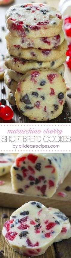 Christmas Maraschino Cherry Shortbread Cookies - Make the classic shortbread cookies red with bits of Maraschino Cherry and you will get beautiful Christmas Cookies – Maraschino Cherry Shortbread Cookies.