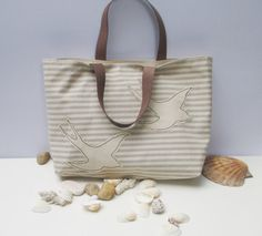 LES MOUETTES Seagull Canvas tote baghandmadeorganic natural by Apopsis on Etsy