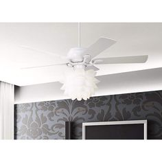 White Flower Ceiling Fan Light Kit - #K9774 | Lamps Plus
