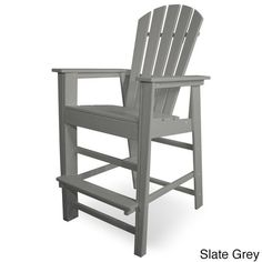 Polywood South Beach Bar Chair (Slate Grey), Patio Furniture (Plastic)