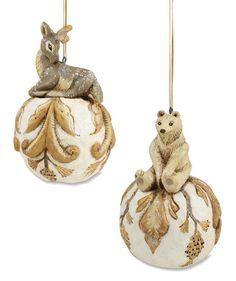 Pam Schifferl Woodland Animal Ornament   Bethany Lowe Bear and Deer Ball Christmas
