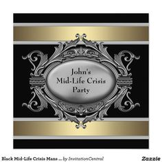 Black Mid-Life Crisis Mans 40th Birthday Party 5.25x5.25 Square Paper Invitation Card