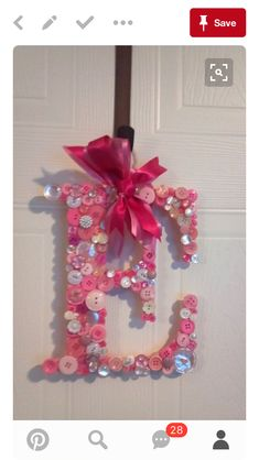 Items similar to Initial Door Hanger With Vintage Buttons on Etsy Button Art, Button Crafts, Button Letters, Fun Crafts, Crafts For Kids, Arts And Crafts, Initial Door Hanger, Craft Projects, Projects To Try
