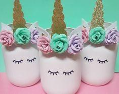 Unicorn Party Decorations, Unicorn Mason Jars, Unicorn Birthday, Unicorn Centerpiece, Unicorn Baby Shower, Set of 3, Unicorn Decor, Girls