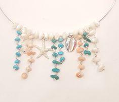 Collar en plata de ley con coral, turquesas y nacar.