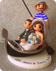 Gondola Bride & Groom Wedding Cake Topper By Tinylovetoppers  http://www.tinylove-wedding-cake-toppers.co.uk/