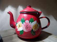 Vintage red enamel tea pot  shabby chic french  by EmpireAntiques