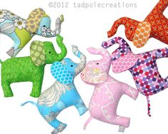 Cloth Elephant Baby Toy with Rattle   Baby by tadpolecreations, $28.00