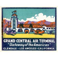 Vintage airplanes Glendale Airport Feature Matchbook Print 1930's Matchbook Art shows the tower that still exists. Airplane wall decor or Glendale room decor -  by MatchbookMemories, $15.00