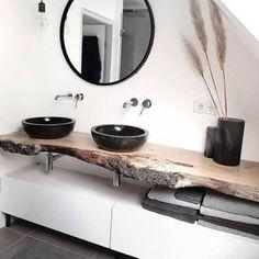 Badezimmer mit dusche Modern, minimalist bathroom with walk-in shower - New Ideas Your Own Home Inte House Inspiration, Home Interior Design, House Interior, Home, Interior, Bathroom Design, Black Sink, Minimalist Bathroom, Home Decor