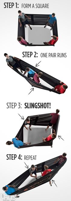 The Human Slingshot: fling your friends around with this giant stretchable band.