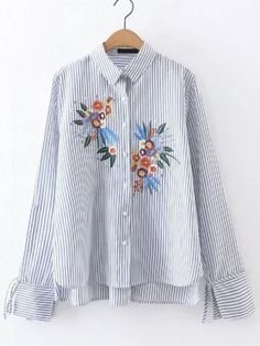 White And Blue Embroidery Vertical Striped High Low Blouse