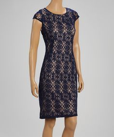Look at this #zulilyfind! Navy & Nude Abstract Cap-Sleeve Dress by Glamour #zulilyfinds