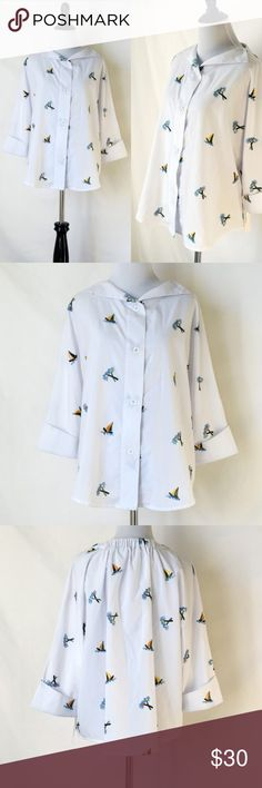 NWT TeeBerry & Weave Palm Embroidered Top Shirt New with tag TeeBerry&Weave  Sailboat pattern No care label No size tag Size small/medium (please see the last photo for the measurement detail) TeeBerry&Weave Tops Button Down Shirts
