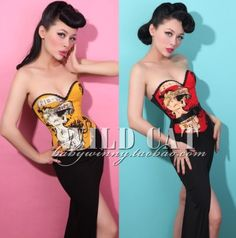 Fashion vintage pin up punk sexy lady fish bone body shaping slim waist cummerbund tube top corselets € 39,53