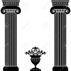 Grec Classique Ou Colonnes Romaines Et Le Vase Clip Art Libres De Droits , Vecteurs Et Illustration. Image 39440035.