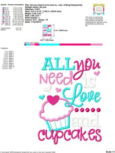 Embroidery design 5x7 6x10 All you need is by SoCuteAppliques