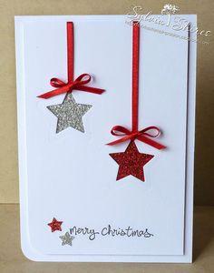 Weihnachtskarte in klassischen Glitzerfarben - gefunden auf sylviasstampinpassion.blogspot.de