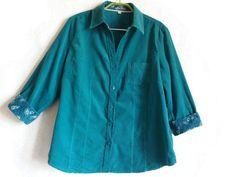 Teal Corduroy Shirt 3/4 Sleeves Cotton Blouse Teal Blouse Women's Shirt Buttons…