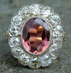Antique gold, tourmaline and diamond ring, c1890